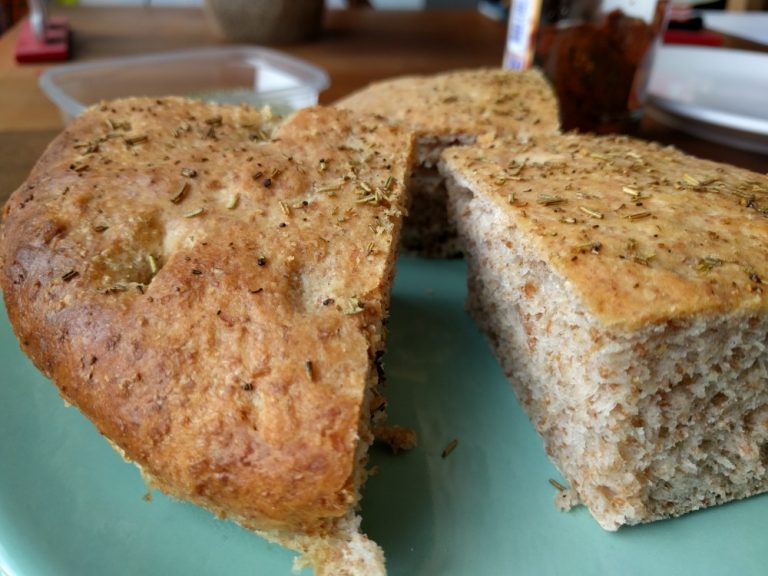 whole wheat focaccia with rosemary