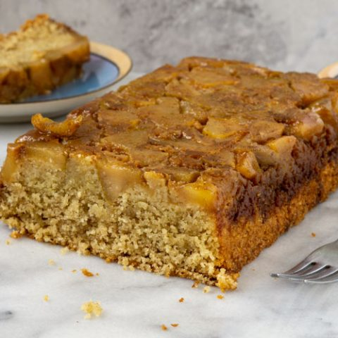 cardamon pear cake with two slices