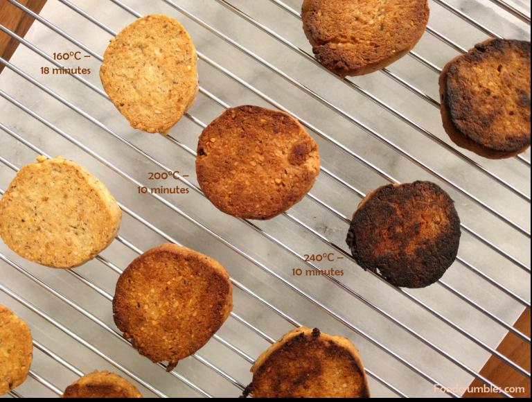 Hazelnut cookies oven experiment three different temperatures
