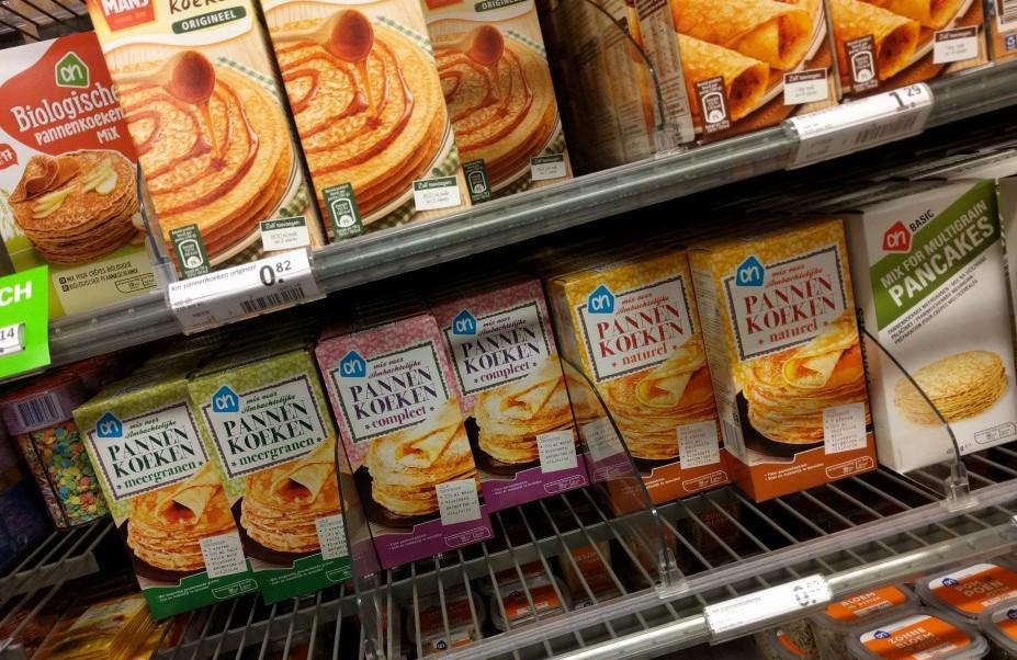 shelf with pancake mix boxes