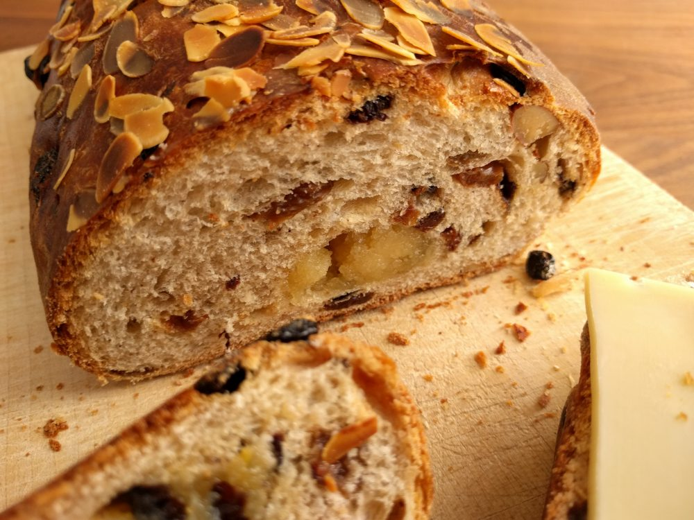kerststol/paasstol, raisin bread with almond paste