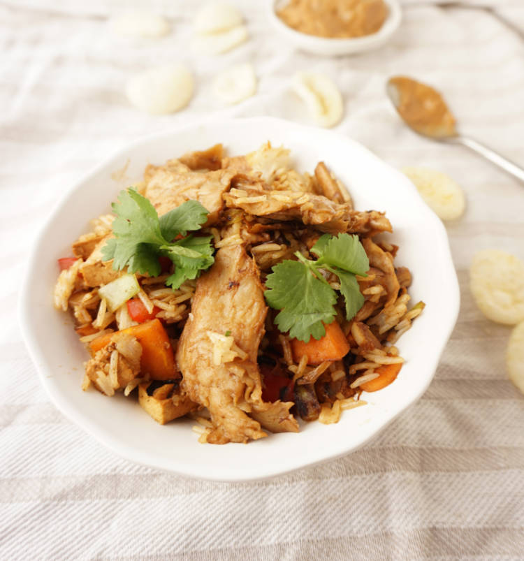 Vegetarian chicken used in a fried rice dish with kroepoek