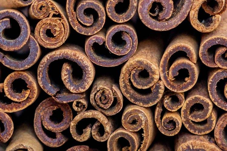 close up of cinnamon sticks