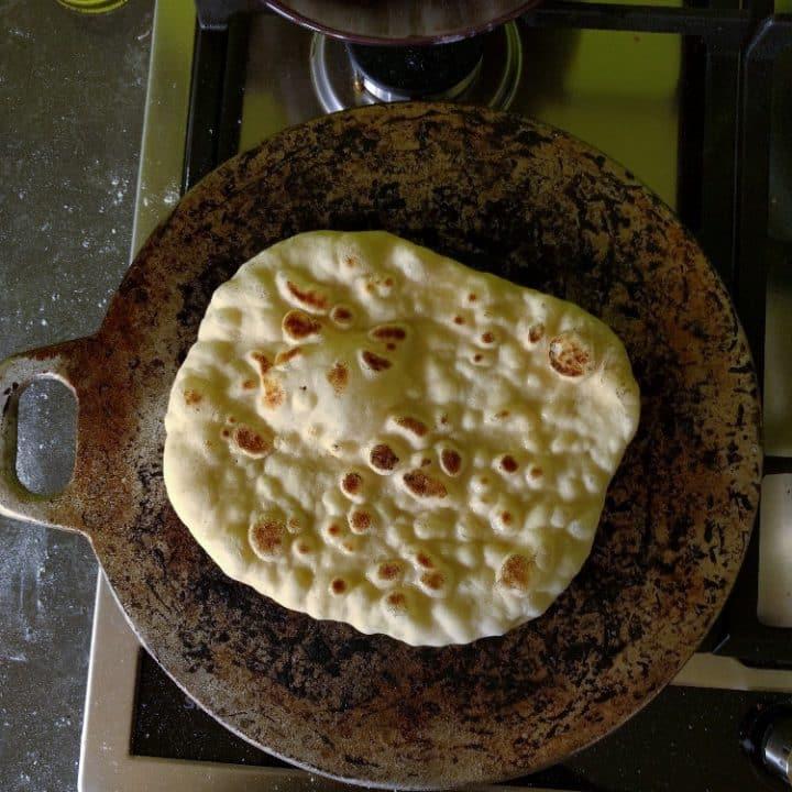 slightly puffy pita bread