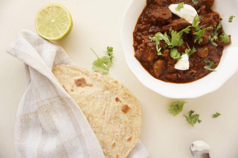 lamb dish, lamb bhuna from Curry guy cookbook