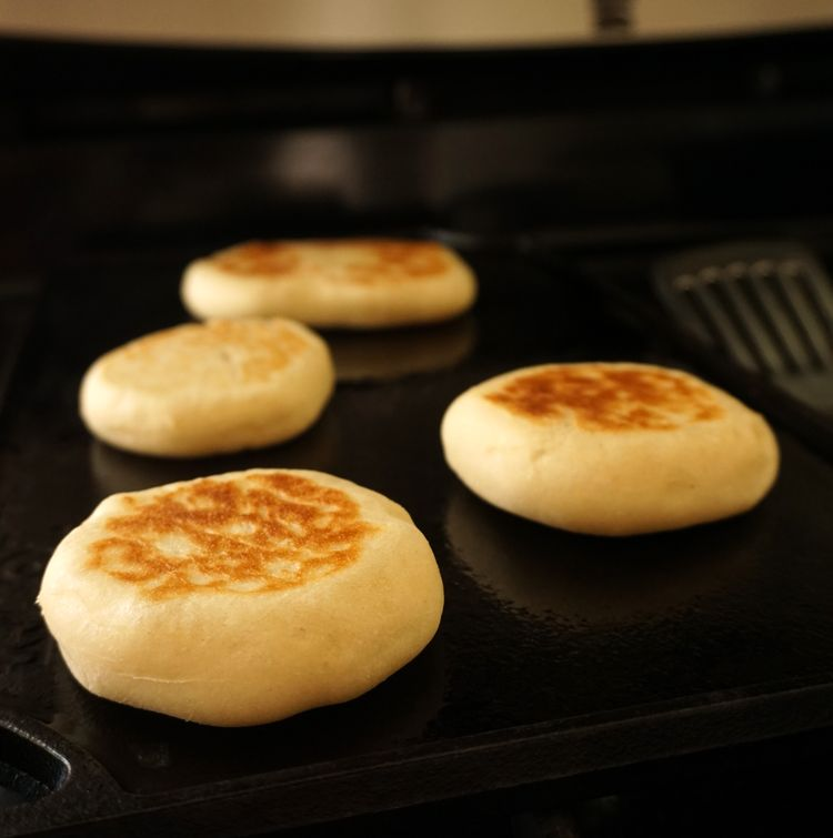 baking English muffins on the griddle