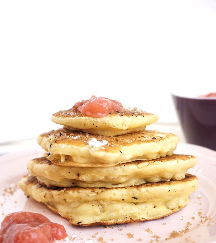 stack of pancakes with rhubarb jam