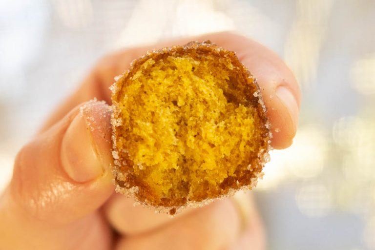inside of pumpkin cake donut hole