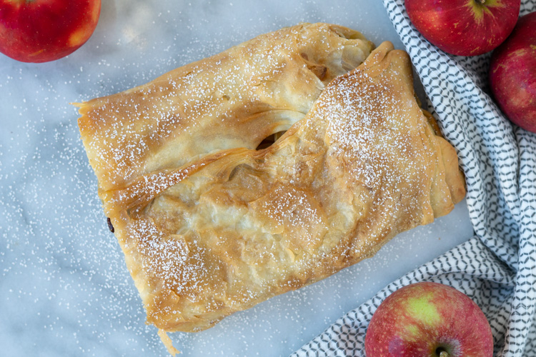 top view of apple strudel