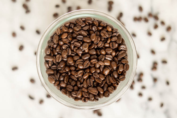 pot of roasted coffee beans