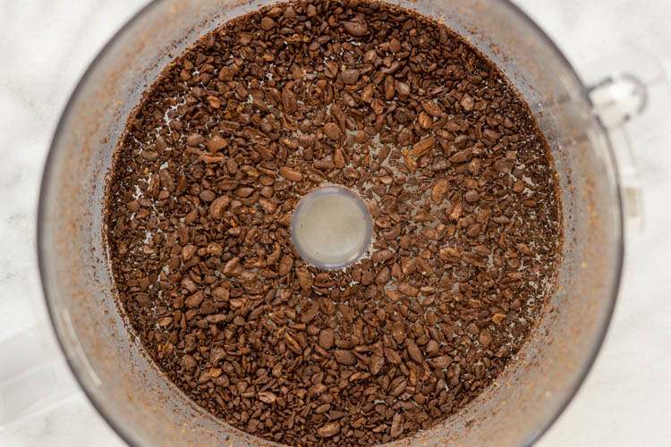ground coffee beans in food processor
