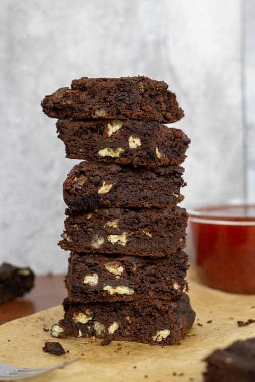 black bean brownie stack
