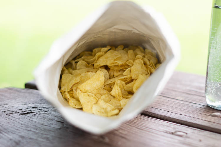 open bags of potato chips