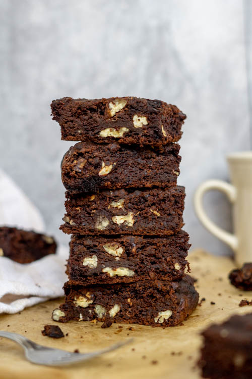 stack of brownies (made with black bean and sweet potato)