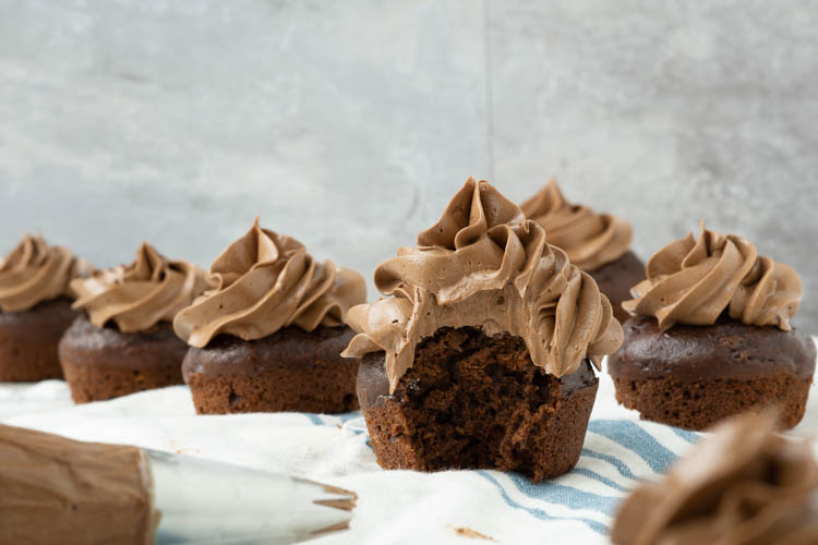 chocolate cupcakes with swiss chocolate meringue buttercream