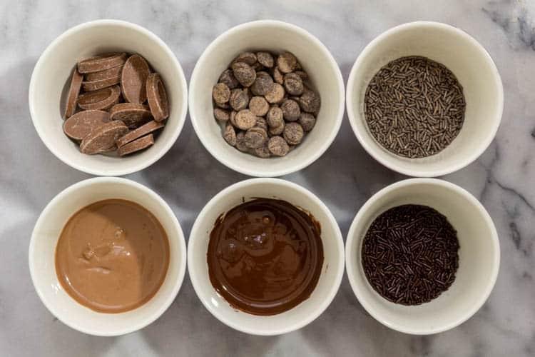 molten and unmolten chocolate varieties