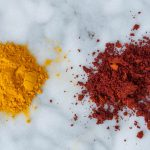 turmeric powders (right: alkalized)