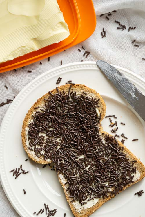 slice of bread with chocolate sprinkles