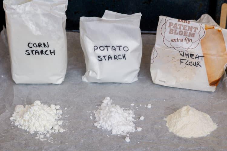 corn starch, potato starch, wheat flour