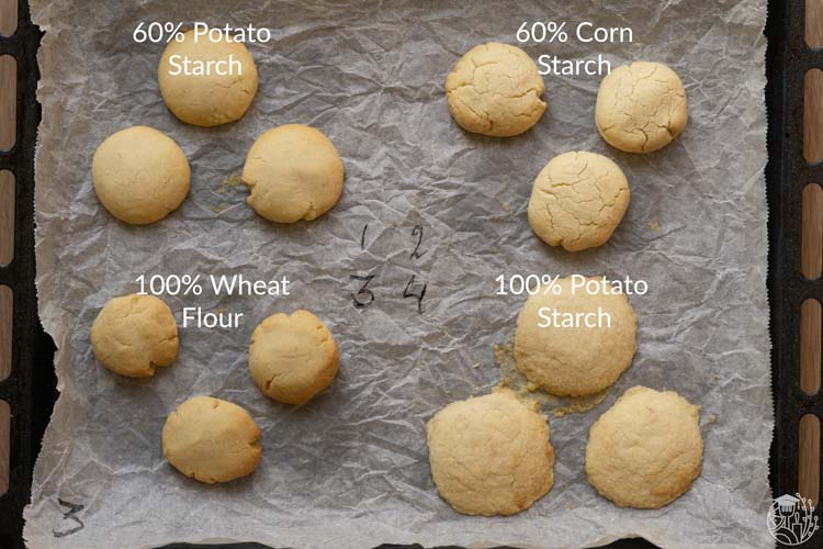 4 different cookies with different potato starch content
