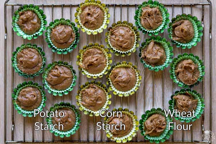 3 cake batters - comparing potato starch in cake
