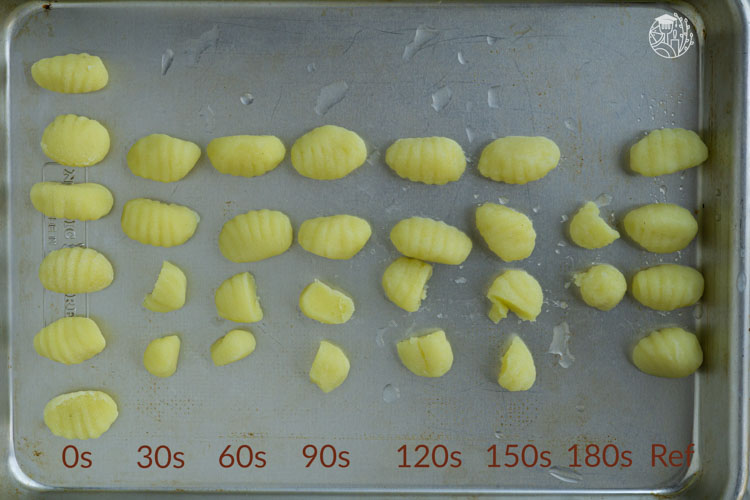 cooking gnocchi for different durations