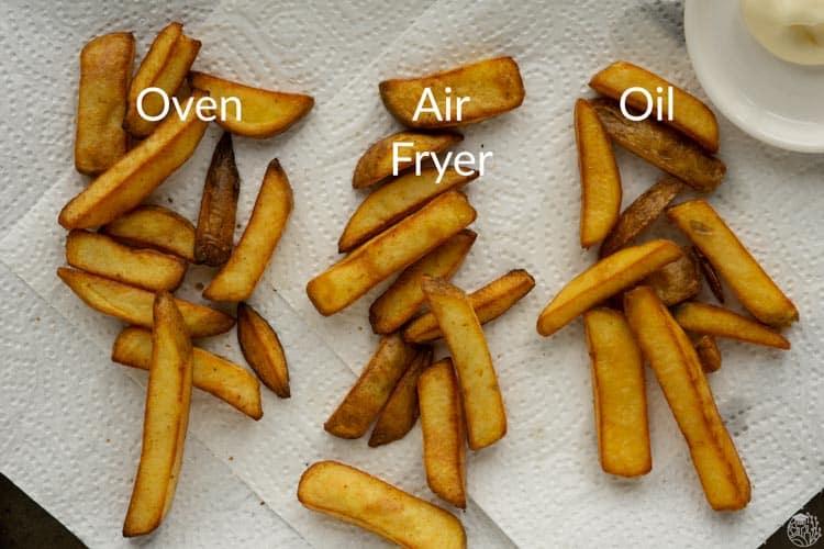 frozen fries prepped three ways