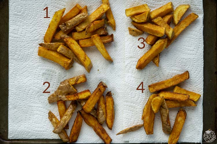 double fried french fries with 4 different soaking methods