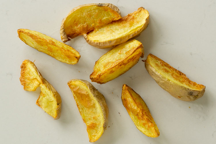 room temp stored, microwaved and air fried potato wedges