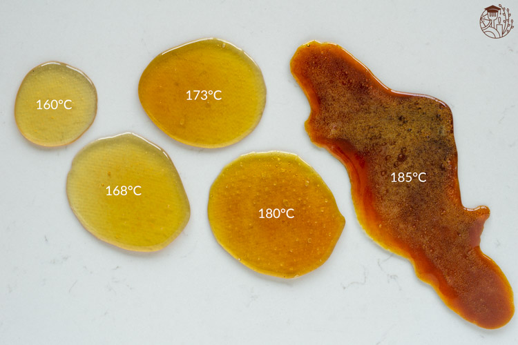 sugar cooked to several caramel stages