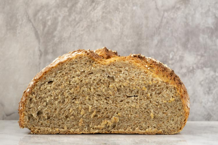 whole wheat bread cross section with water roux